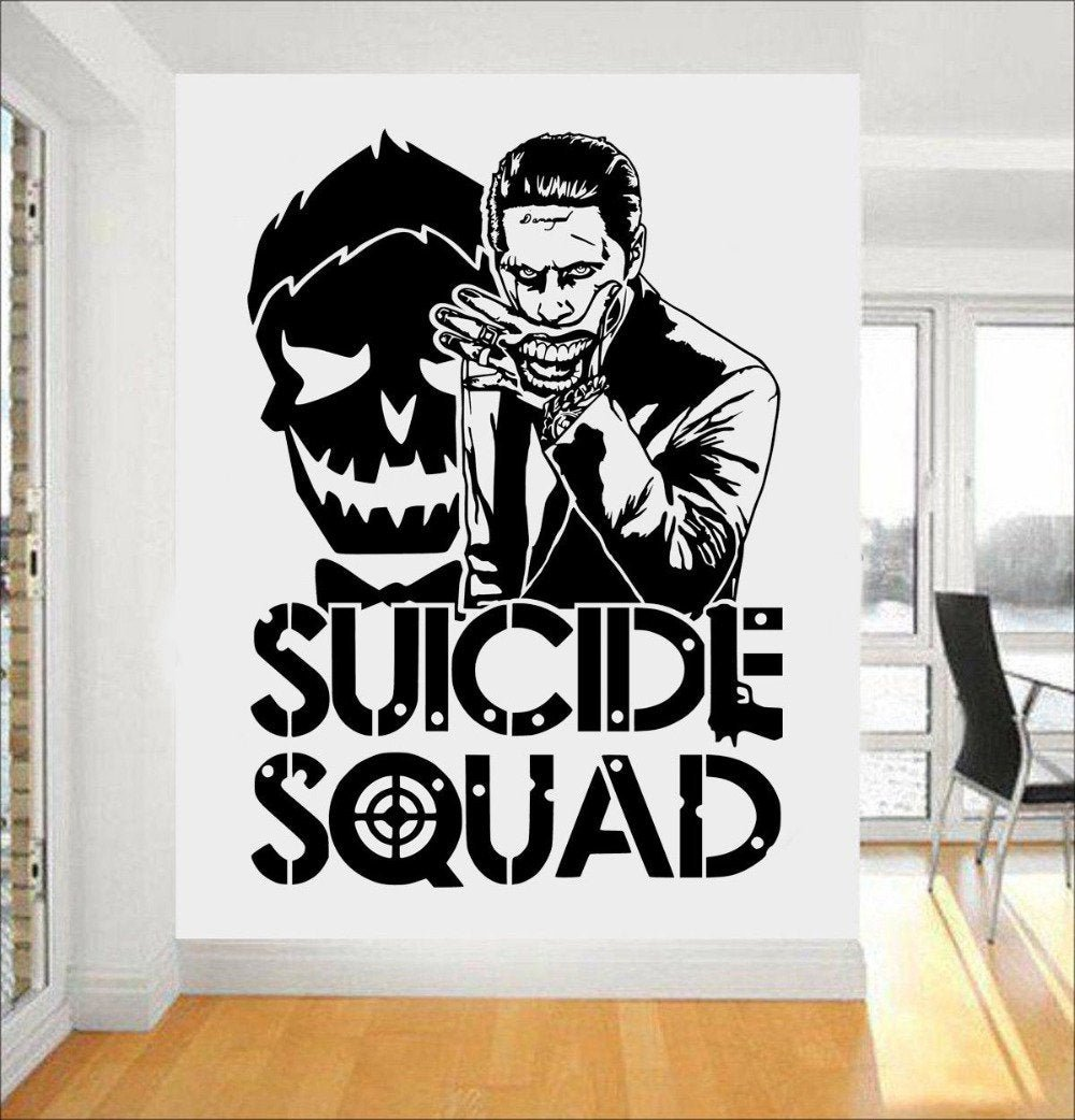 Joker Suicide Squad Wall Art Sticker Fashion Design Wall Stickers For Boys Bedroom Teens Room Decor