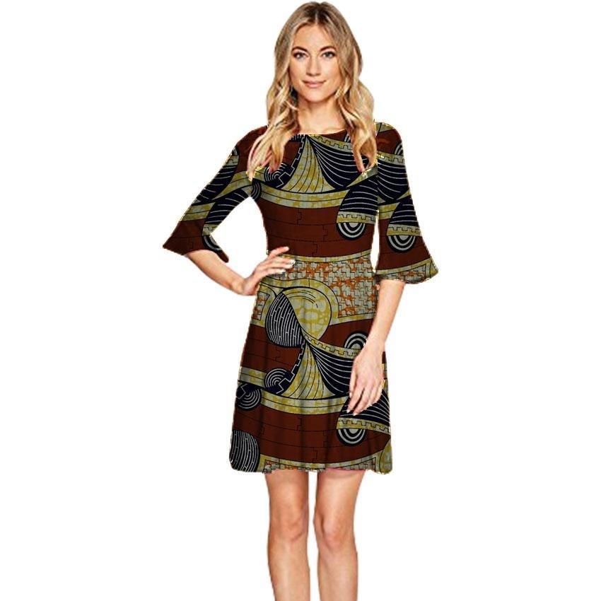 Elegant women african dresses o-neck ladies half sleeve party dress dashiki prints african clothing
