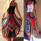 dashiki plus size long skirts womens print boho female Bohemian skirt maxi ruffle summer sun beach s