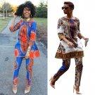 2017 New 2 Piece Set Bodysuit Woman Dashiki Sets Fashion Printed Ladies Pants Suits For African Pant