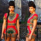 Women Summer 2 Piece Outfits Bodycon Dashiki Top Shirt And Short African Traditional Print Clothing