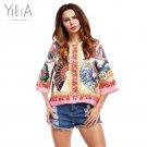 Yilia Floral African Print Flare Sleeves Bomber Jacket Coats Women Overcoat 2017 Basic Jackets Outer