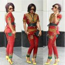 Floral Print Two Piece Overalls African Style Dashiki Casual Jumpsuit And Romper For Women Retro Vin