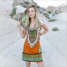 Double Luck Boho Gypsy Tribal Hooded Tunic Dress Women Traditional African Print Dashiki Dresses Boh