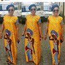 Free shipping African traditional dresses for women yellow girl print dashiki fashion style bazin ri