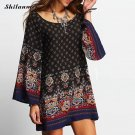 Vintage Boho Dress Women 2017 Loose Robe Ete Dashiki Geometrical Print Summer Sundresses Casual Beac