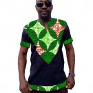 African print men t shirt patchwork short sleeve dashiki tops mens africa clothing customize made to