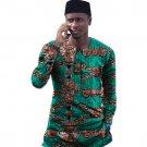 Fashion african tops print long sleeve Ankara shirt men africa t shirt fashion traditional design da
