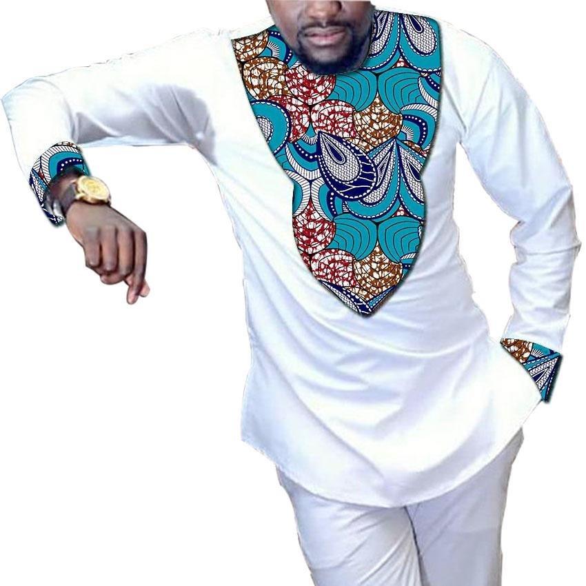 Recreational african t-shirt men fashion african print dashiki tops custom long sleeve african cloth