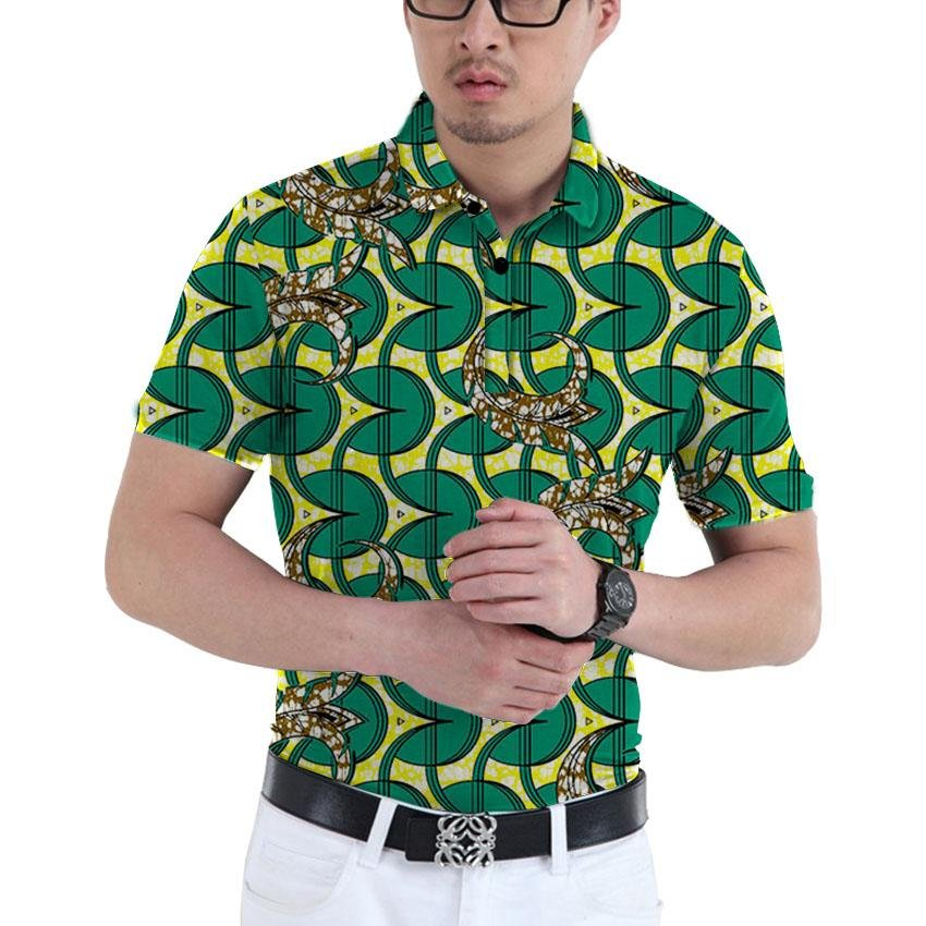 Brightly print dashiki tops short sleeve men african clothes fashion turn-down collar shirt man afri