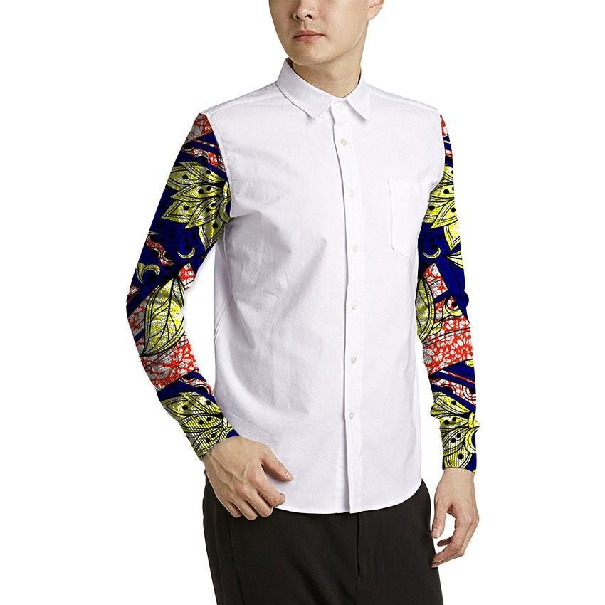 Conventional african men print shirts custom africa clothing white and prints patchwork long sleeve