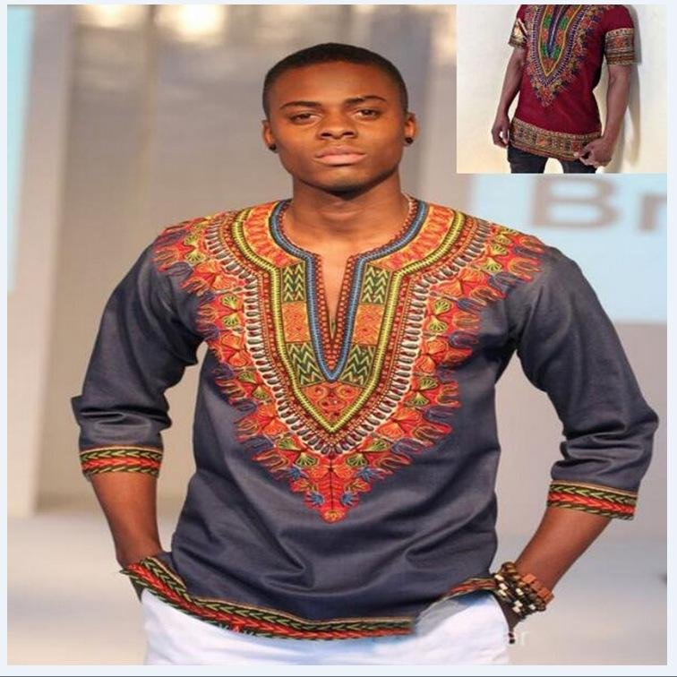 Fast shipping Dashiki fashion design african traditional printed Men T-shirts V-Neck Half sleeve pri