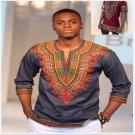 Fast shipping Dashiki fashion design african traditional printed Men T-shirts V-Neck Half sleeve pri