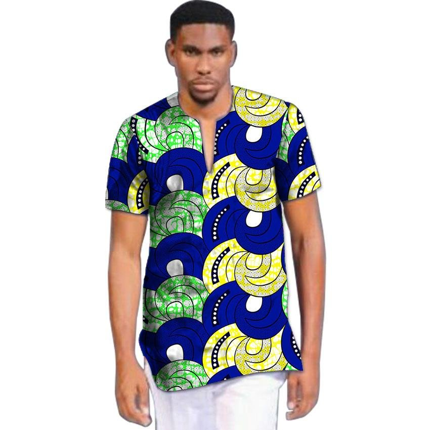 Brightly print dashiki tops short sleeve men african clothes fashion v-neck african shirt man africa