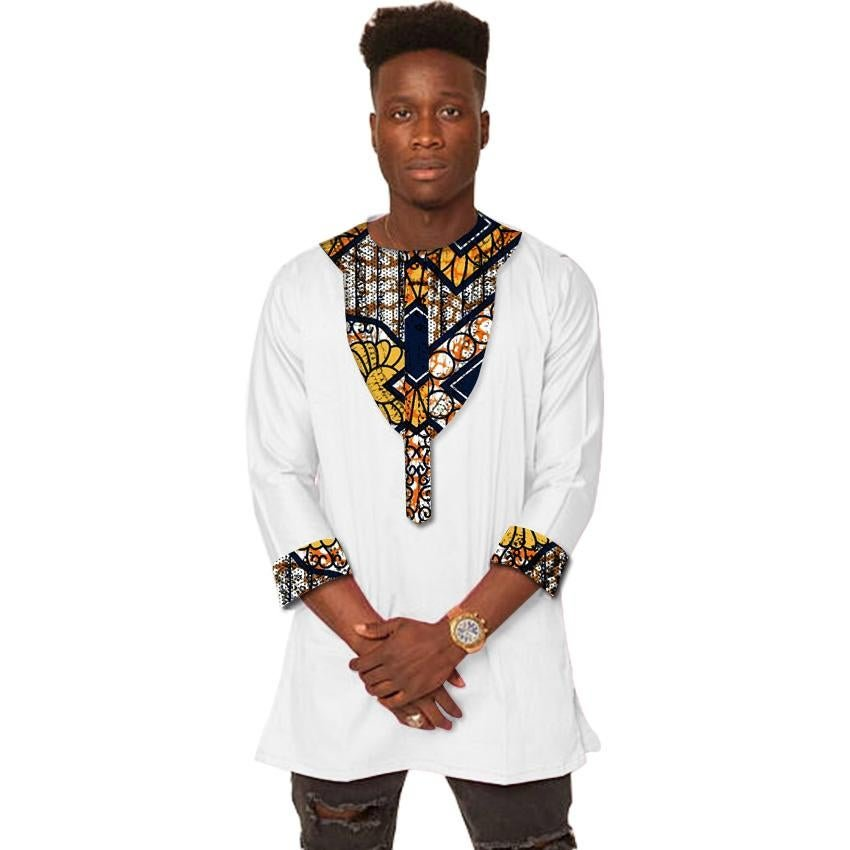 Africa print mens Three Quarter sleeve t-shirt fashion african shirt man dashiki clothes customized
