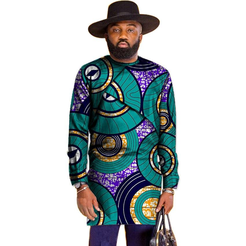 Fashion mens dashiki clothes mens african tshirt unique design long sleeve tops custom made print af