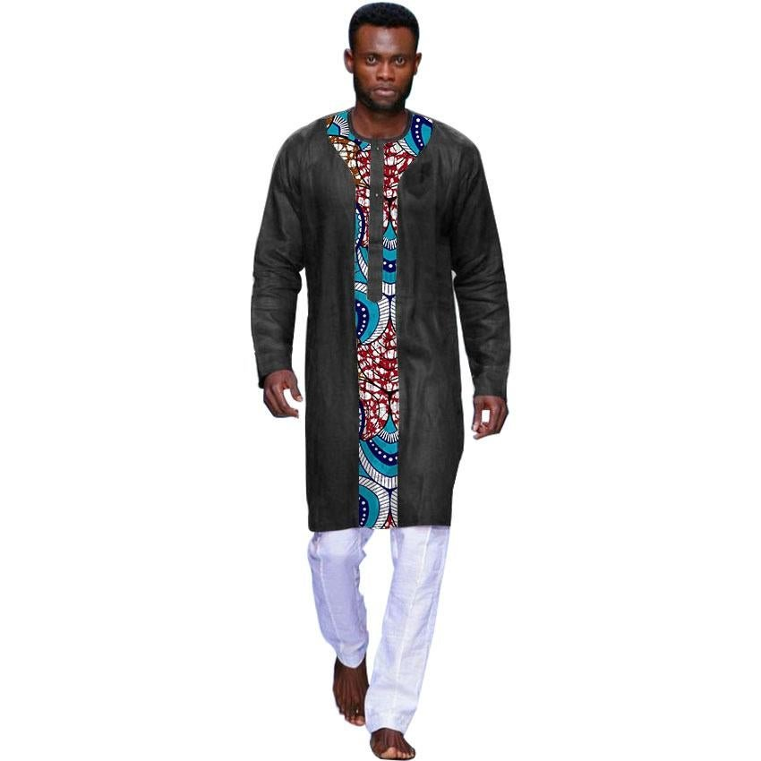 Black cotton and print patchwork african tshirt men dashiki tops customized africa style traditional