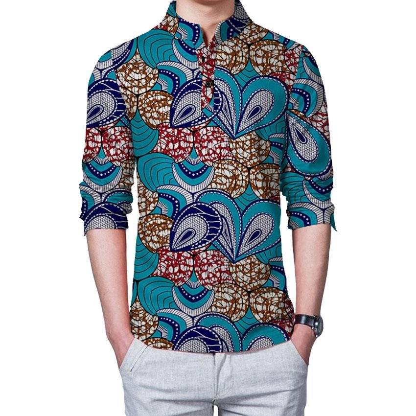 African print mens casual shirt stand collar dashiki african clothes for men fashion long sleeve top