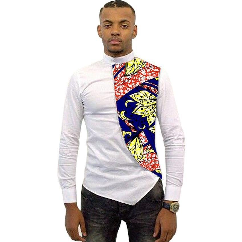 Asymmetrical design men dashiki shirt slim fit male tops fashion silk/wax patchwork ankara t shirt a