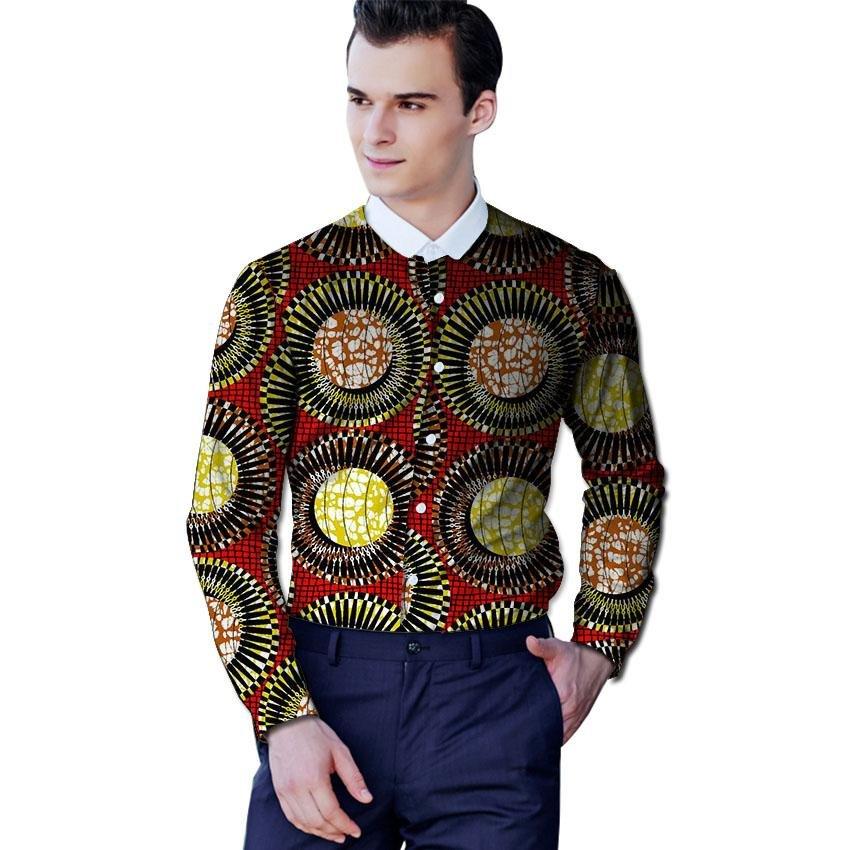 Men african shirt custom dashiki clothes long sleeve white lapel tops exquisite print africa clothin