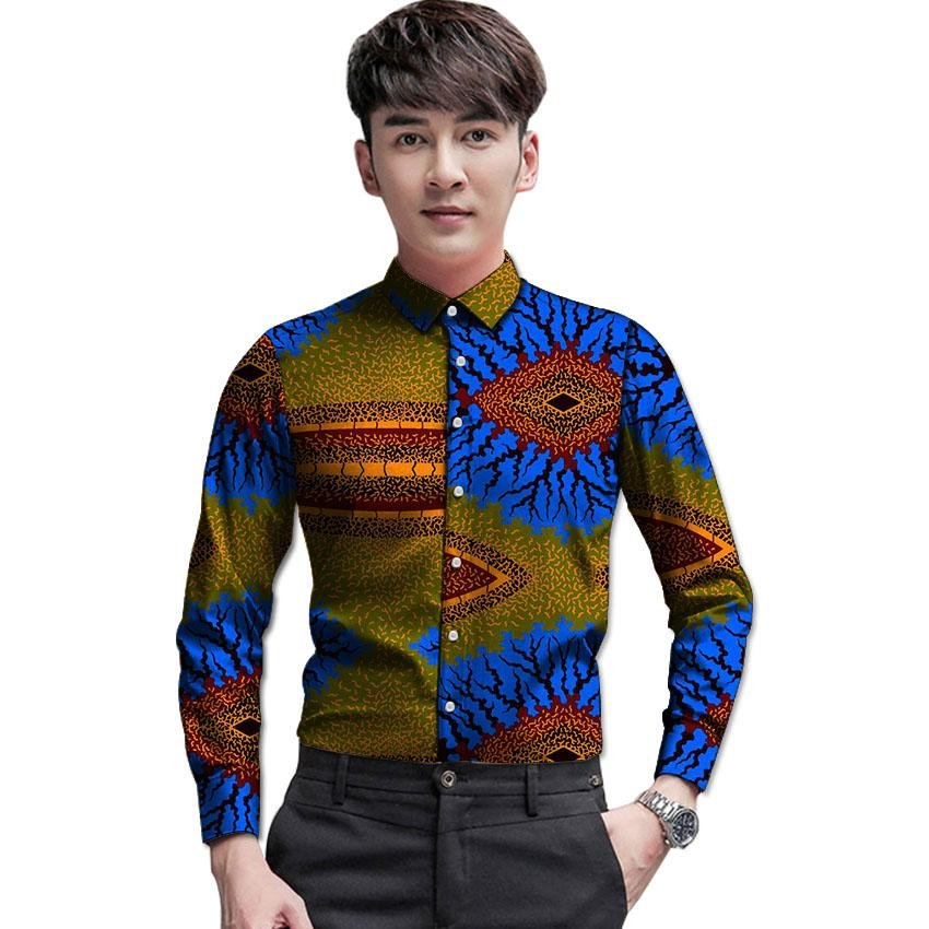 African customized long sleeve men shirt colourful dashiki print tops fashion design print africa cl