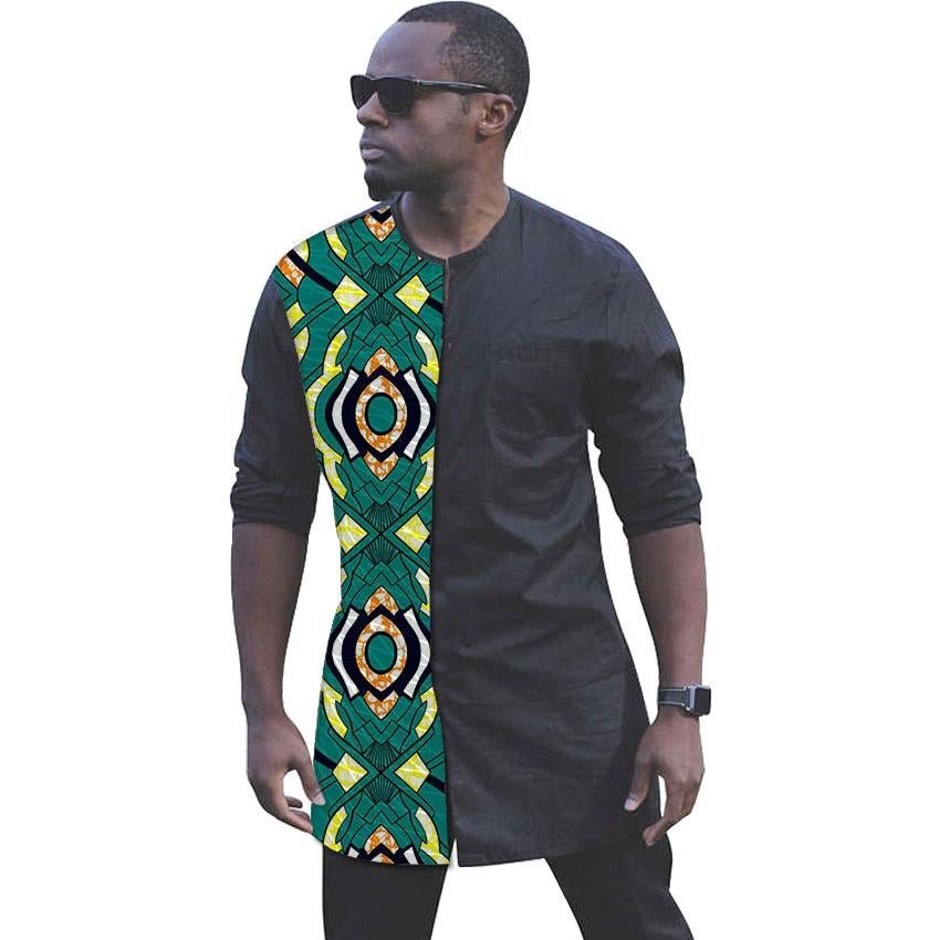 African print shirts for men fashion patchwork slim fit long sleeve dashiki tops africa clothing cus