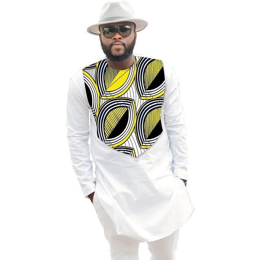 Fashion African Men Tops Fashion Male Dashiki Clothes Print And White Long Sleeve Man T shirt O-neck