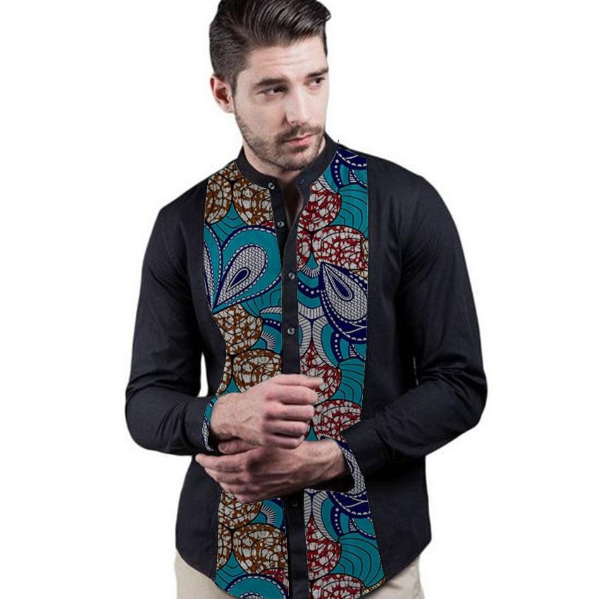 Patchwork Men African Print Shirts Fashion Stand Collar Male Long Sleeve Tops Africa Festivel Dashik