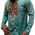 YLnini Men\'s African Bright Dashiki Tribal Floral Shirt