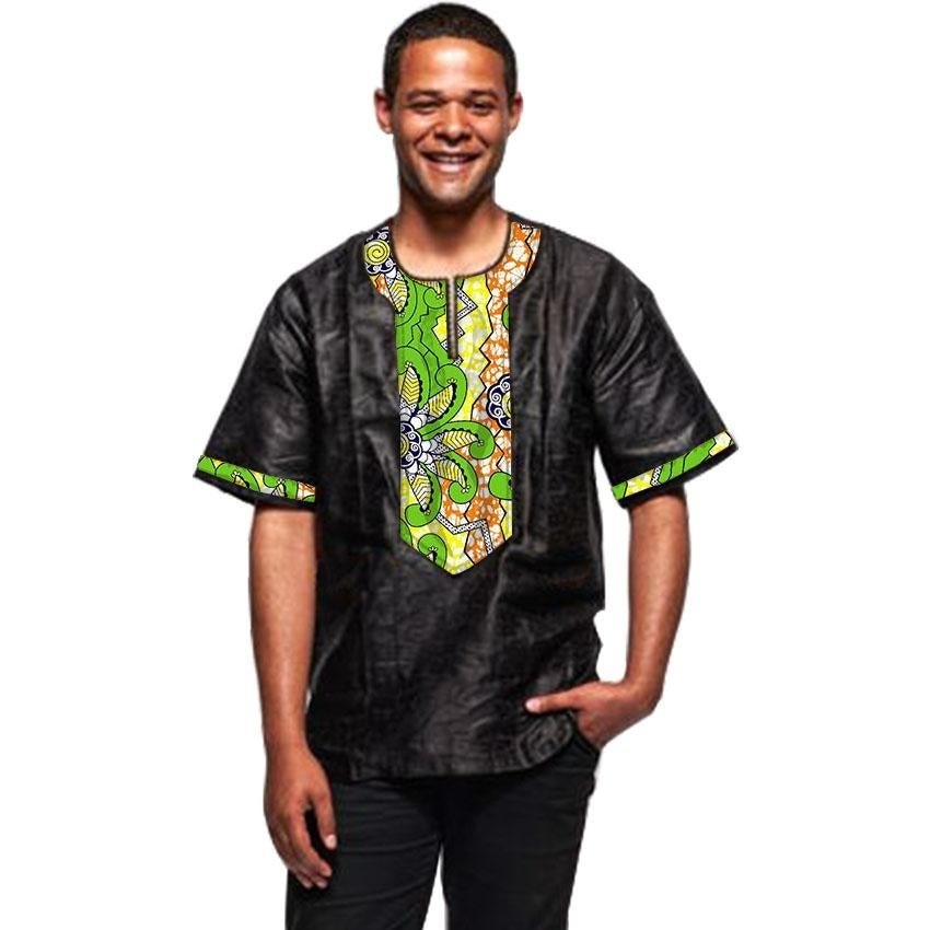 Black and print patchwork african shirt men dashiki recreational tops customized africa style tradit