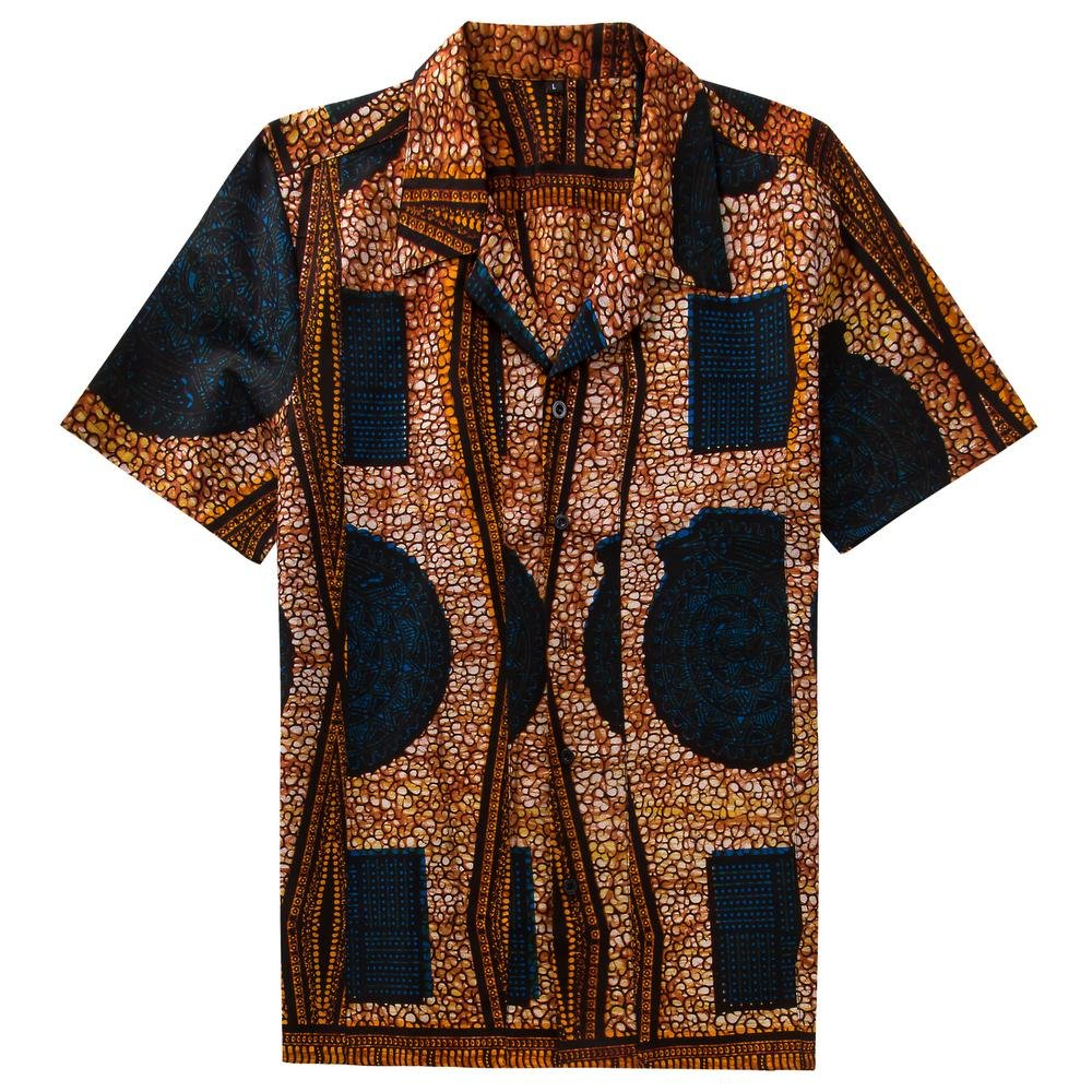 Men african shirt custom dashiki camiseta masculina short sleeve tops exquisite print punk rock styl