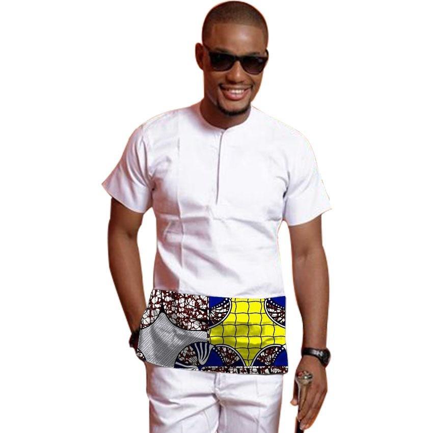 Custom dashiki clothes patchwork design colorful print men african shirt short sleeve tops fashion a