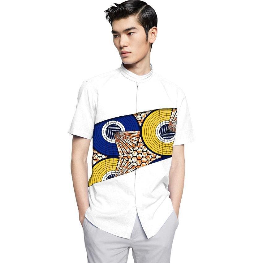 Fashion African Mens Tops Dashiki Clothes African White cotton+Print Patchwork Short Sleeve Man Afri