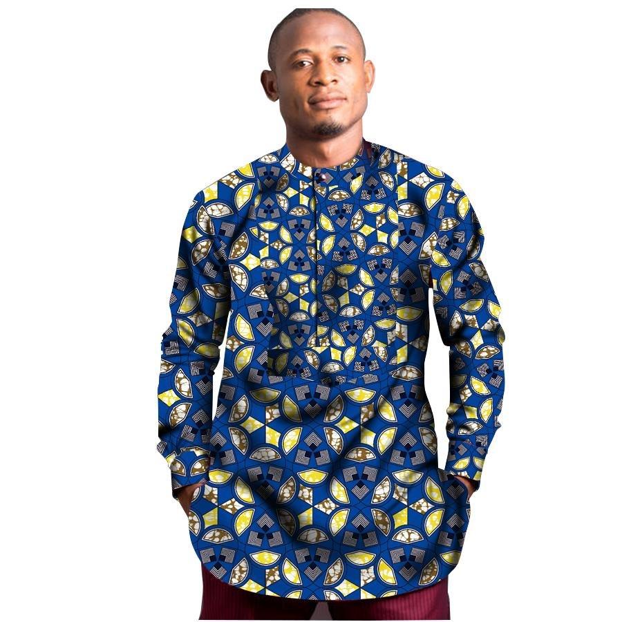 Fashion Men African Print Tops Africa Style T-shirt Male O-neck Collar Short Sleeve Dashiki Shirt Wi