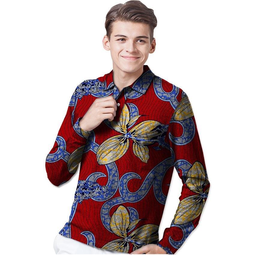 Africa print mens long sleeve t-shirt fashion african turn-down collar shirt man dashiki clothes cus