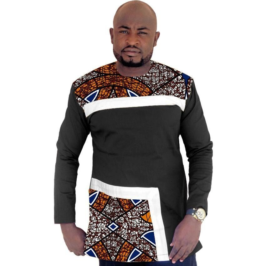 African clothes customized print t shirts men africa clothing summer long sleeve tops patchwork dash