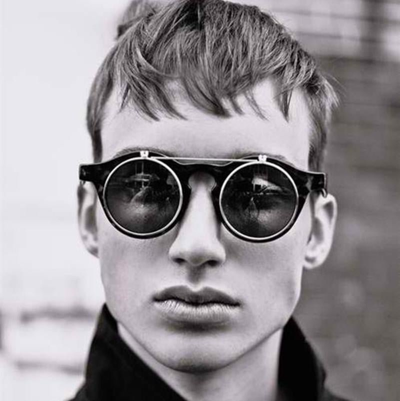 JackJad 2017 Fashion Vintage Round Retro SteamPunk Sunglasses Classic Double Layer Clamshell Design