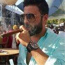 CALIFIT Metal Frame Oversized Pilot Sunglasses Men Vintage Style Cool Shades Male Fashion Design Sun