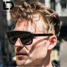 DOLCE VISION Retro Flat Top Sunglasses Men Black Frame One Piece Sun Glasses Male Cool Luxury Design
