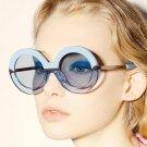 2017 New Brand Women Round Sunglasses Hollywood Pool Sea Blue Female Fashion Oversize Arrow Mirror G