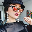 Black Small Triangle Cat Eye Frame Sunglasses Women UV400 Retro White Vintage Female Sun glasses Red