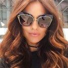 Winla High Quality Women Cat Eye Sunglasses Fashion Style Reflective Mirror Sunglasses Metal Frame G
