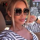 SHAUNA Oversize Half Frame Women Pink Mirror Square Sunglasses Fashion Ladies Tea Gradient Lens Shad
