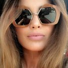 SHAUNA Fashion Women Half Frame Sunglasses Vintage Ladies Oversized Gradient/Clear Lens Glasses