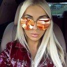 Fashion Cool Hip Hop Oversized Mirror Pink Sunglasses Cat Eye Women Men Sunglasses Female Shades Hip