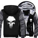 USA size Punisher Skull Cosplay Coat Zipper Hoodie Winter Fleece Unisex Thicken Jacket Sweatshirts