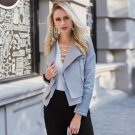 Lily Rosie Girl Gray Zipper Suede Faux Leather Jacket Women Autumn Winter Black Basic Jackets Casual