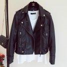New Autumn Winter Pu Leather Jacket Faux Soft Leather Coat Slim Black Rivet Zipper Motorcycle Jacket