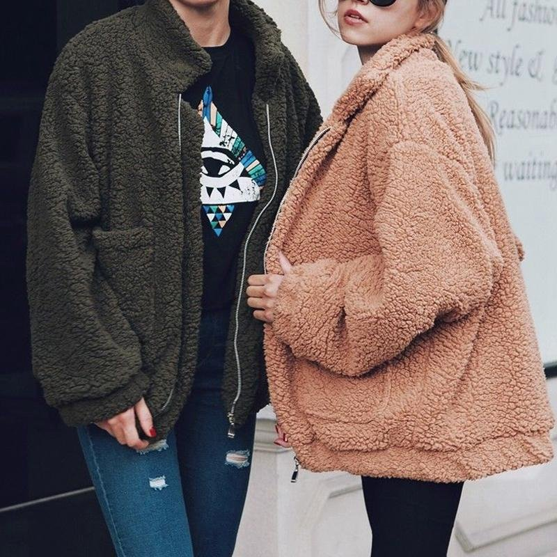 Fashion Women Fluffy Shaggy Faux Fur Warm Winter Coat Cardigan Jacket Lady Outwear Tops Long Sleeve