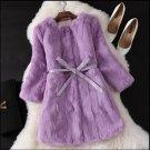 Natural Fur Coat New Winter Entire Skin Real Rabbit Fur Long Coat Korean Female Three Quarter Sleeve